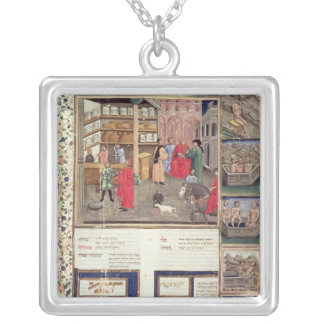 Page from the 'Canon of Medicine' by Avicenna Silver Plated Necklace