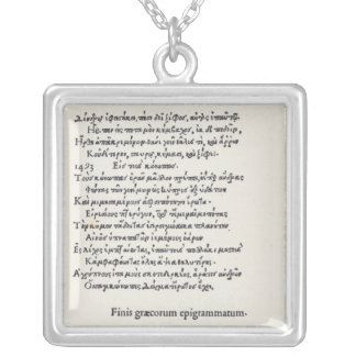 Page of Greek Epigrams by Angelo Poliziano, 1498 Silver Plated Necklace