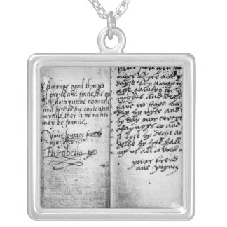 Page of manuscript silver plated necklace