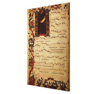 Page of Musical Notation with historiated Canvas Print