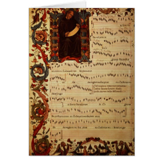 Page of Musical Notation with historiated Card