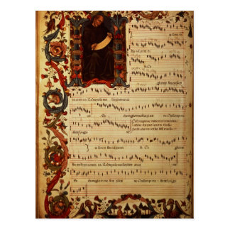 Page of Musical Notation with historiated Postcard