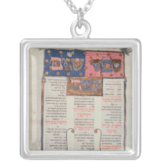 Page of text and illustration silver plated necklace