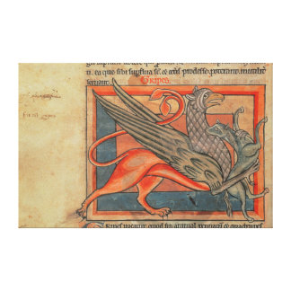 Page of text with an illustration of a griffin canvas print