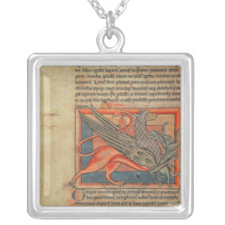 Page of text with an illustration of a griffin silver plated necklace