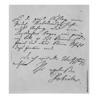 Page of text with his signature poster