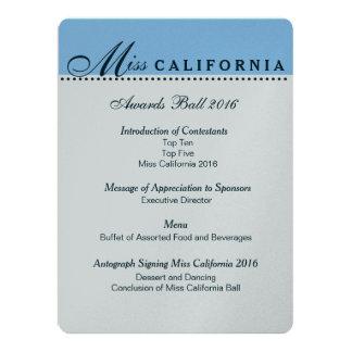 Pageant Awards Ball Program in Metallic Silver 17 Cm X 22 Cm Invitation Card