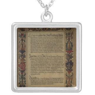 Page'Geheim Ehrenbuch Fuggerschen Geschlechts' Silver Plated Necklace