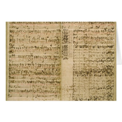 Pages from Score of the 'The Art of the Fugue' Card