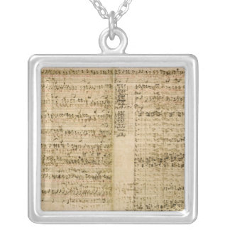 Pages from Score of the 'The Art of the Fugue' Square Pendant Necklace