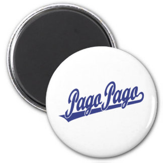 Pago Pago script logo in blue Fridge Magnets