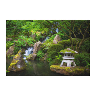 Pagoda and Pond in the Japanese Garden Stretched Canvas Print