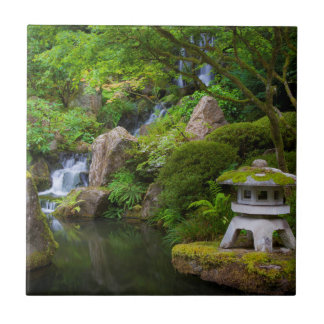 Pagoda and Pond in the Japanese Garden Small Square Tile