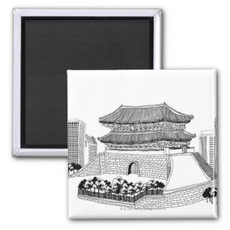 Pagoda and Trees Magnet