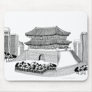 Pagoda and Trees Mouse Pad