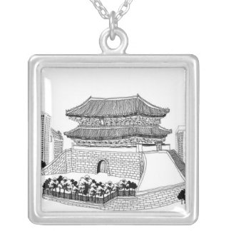 Pagoda and Trees Silver Plated Necklace