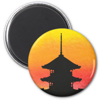 Pagoda silhouette colorful artistic design 6 cm round magnet