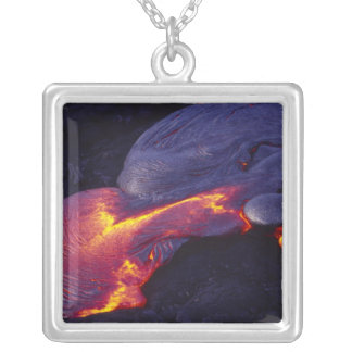 Pahoehoe lava, Kilauea Volcano, Hawaii Volcanoes Silver Plated Necklace