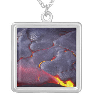 Pahoehoe lava, Kilauea Volcano, HVNP, Island of Silver Plated Necklace