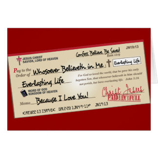 Paid in Full Saved by Jesus Check Card