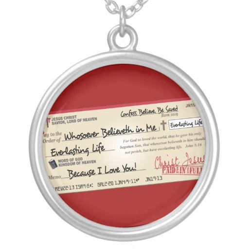 Paid in Full Saved by Jesus Check Personalized Necklace