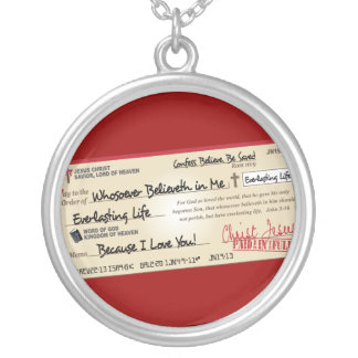 Paid in Full Saved by Jesus Check Round Pendant Necklace