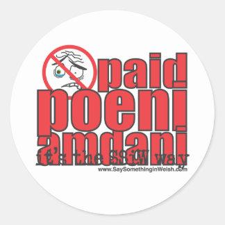 Paid poeni amdani! classic round sticker