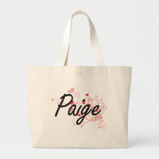 Paige Artistic Name Design with Hearts Large Tote Bag