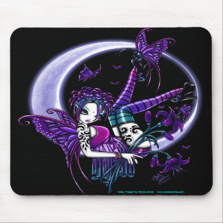 Paige Dark Rainbow Flower Moon Fairy Mousepad