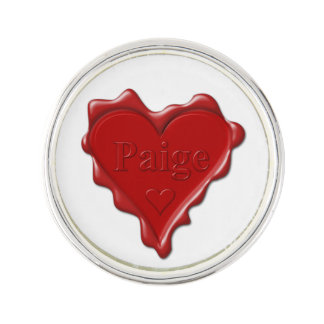 Paige. Red heart wax seal with name Paige Lapel Pin