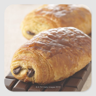pain au chocolat square sticker
