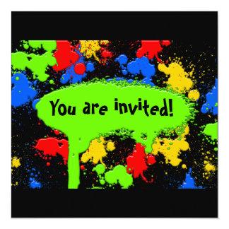 "Paint Ball Invitation 5.25"" Square Invitation Card"