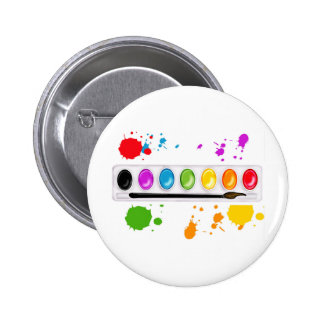 paint box with splatters 6 cm round badge
