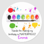 paint box with splatters round stickers