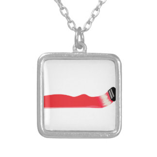 Paint Brush Square Pendant Necklace
