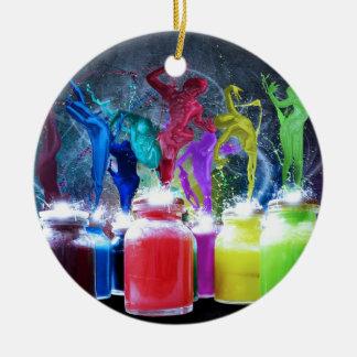 paint dancers round ceramic decoration