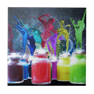 paint dancers small square tile