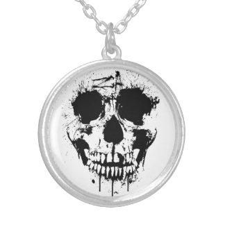 paint drip skull round pendant necklace