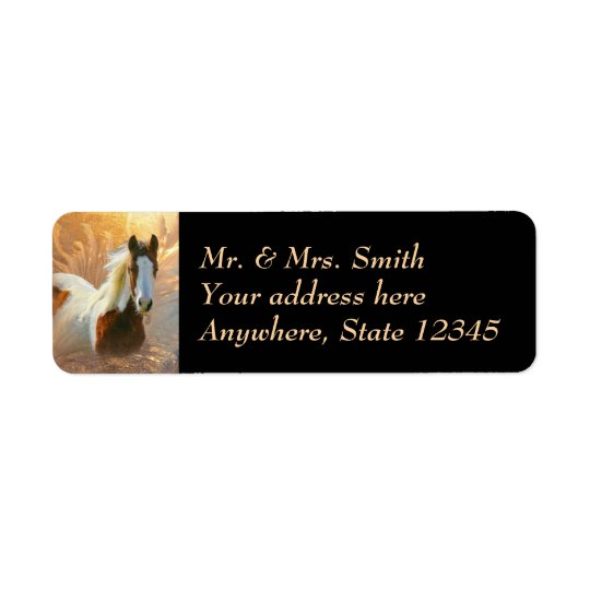 Paint Horse Gold Return Address Labels