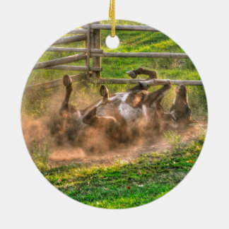 Paint Horse Rolling in Dust Funny Equine Photo Christmas Ornament