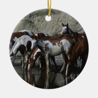Paint Horses Drinking Christmas Ornament