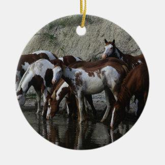 Paint Horses Drinking Christmas Ornament