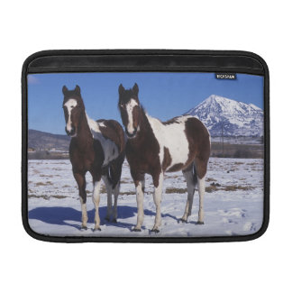 Paint Horses Standing in the Snow MacBook Sleeves