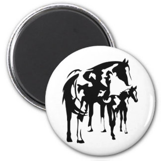 Paint Mare and Foal 6 Cm Round Magnet