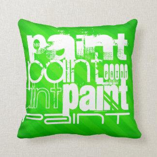 Paint; Neon Green Stripes Throw Pillows