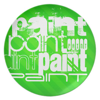Paint; Neon Green Stripes Party Plates