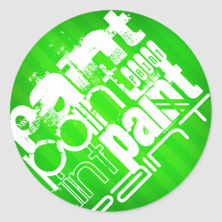 Paint; Neon Green Stripes Classic Round Sticker