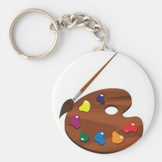 Paint palette basic round button key ring