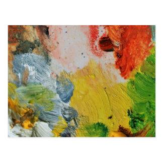 Paint palette colors abstract art postcard