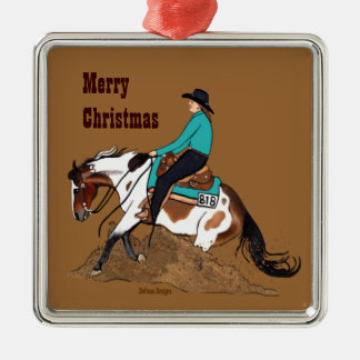 Paint Reining Horse Christmas Ornament